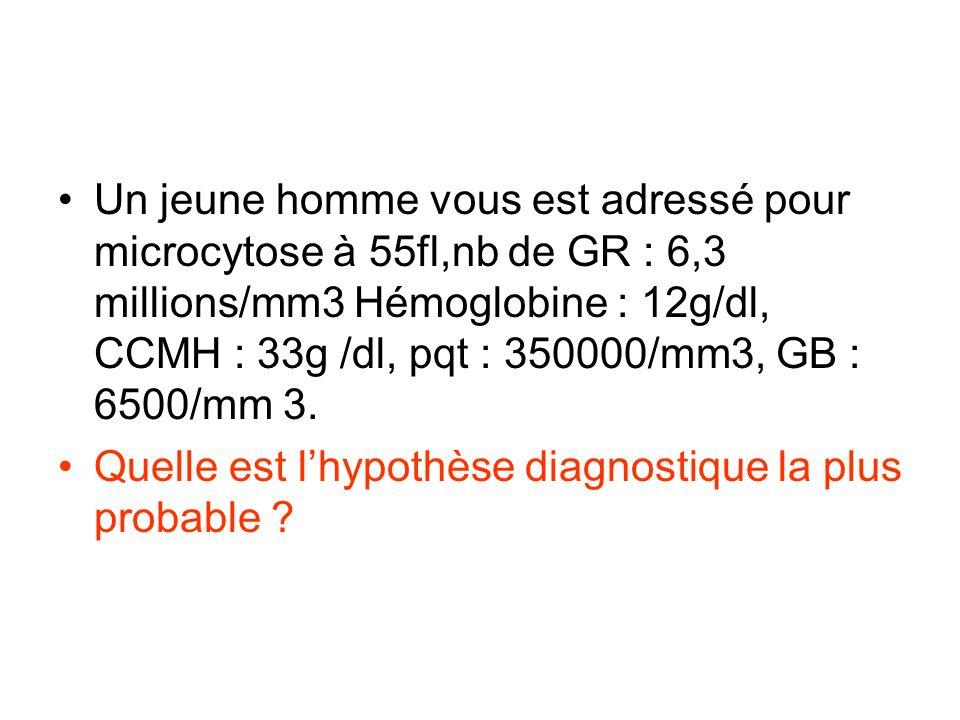 Un jeune homme vous est adressé pour microcytose à 55fl,nb de GR : 6,3 millions/mm3 Hémoglobine : 12g/dl, CCMH : 33g /dl, pqt : 350000/mm3, GB : 6500/