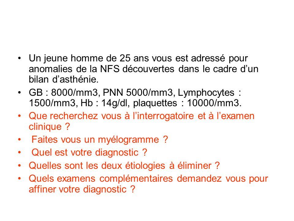 Un jeune homme de 25 ans vous est adressé pour anomalies de la NFS découvertes dans le cadre dun bilan dasthénie. GB : 8000/mm3, PNN 5000/mm3, Lymphoc
