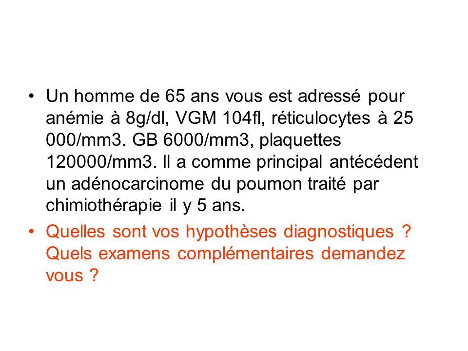 Un homme de 65 ans vous est adressé pour anémie à 8g/dl, VGM 104fl, réticulocytes à 25 000/mm3. GB 6000/mm3, plaquettes 120000/mm3. Il a comme princip
