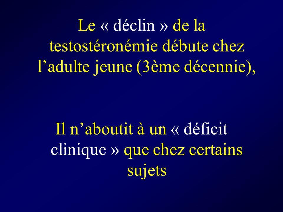 Le « déclin » de la testostéronémie débute chez ladulte jeune (3ème décennie), Il naboutit à un « déficit clinique » que chez certains sujets