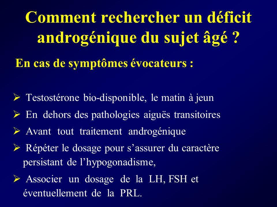 Comment rechercher un déficit androgénique du sujet âgé ? En cas de symptômes évocateurs : Testostérone bio-disponible, le matin à jeun En dehors des