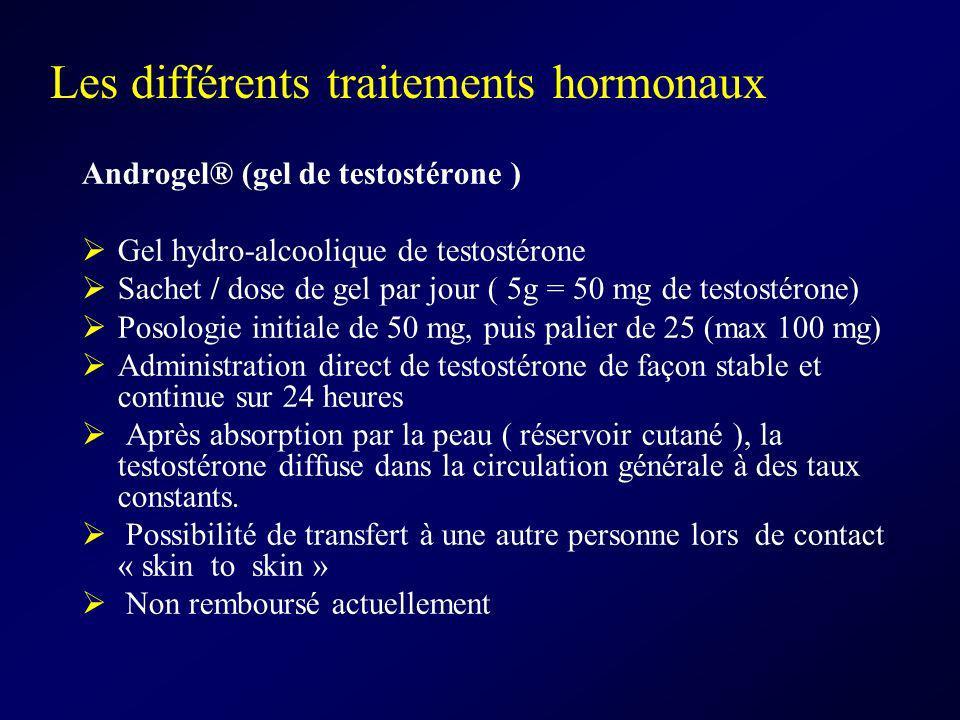 Les différents traitements hormonaux Androgel® (gel de testostérone ) Gel hydro-alcoolique de testostérone Sachet / dose de gel par jour ( 5g = 50 mg