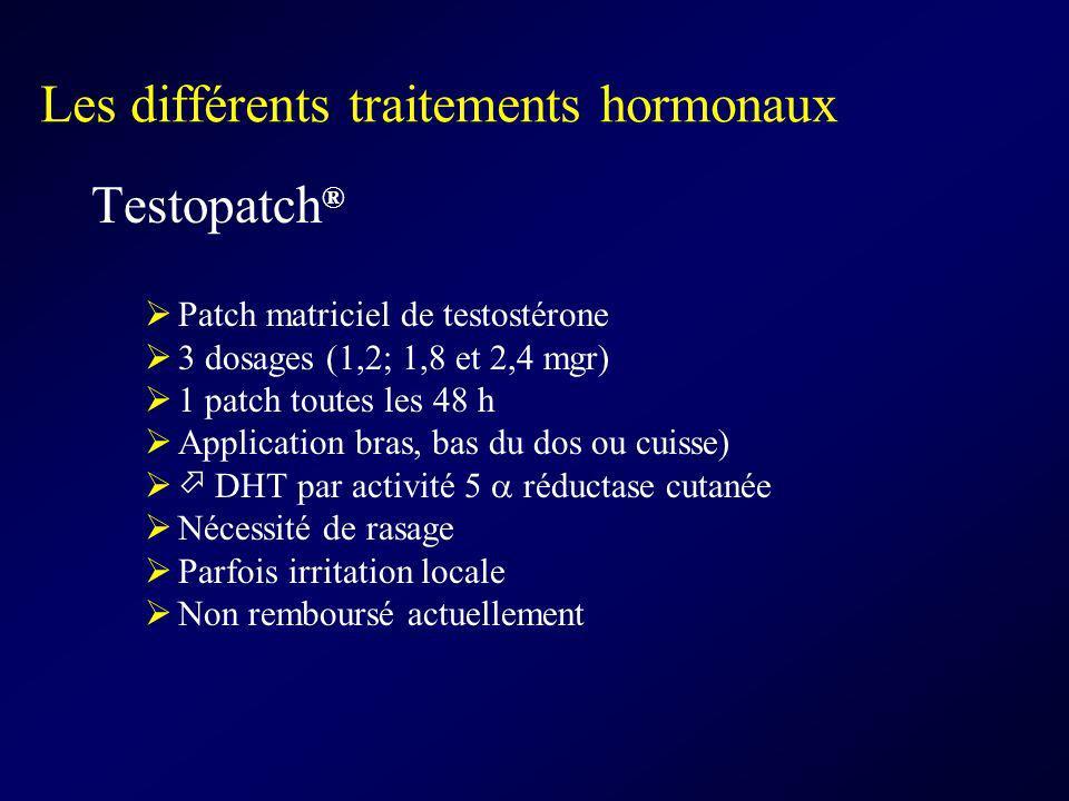Les différents traitements hormonaux Testopatch ® Patch matriciel de testostérone 3 dosages (1,2; 1,8 et 2,4 mgr) 1 patch toutes les 48 h Application