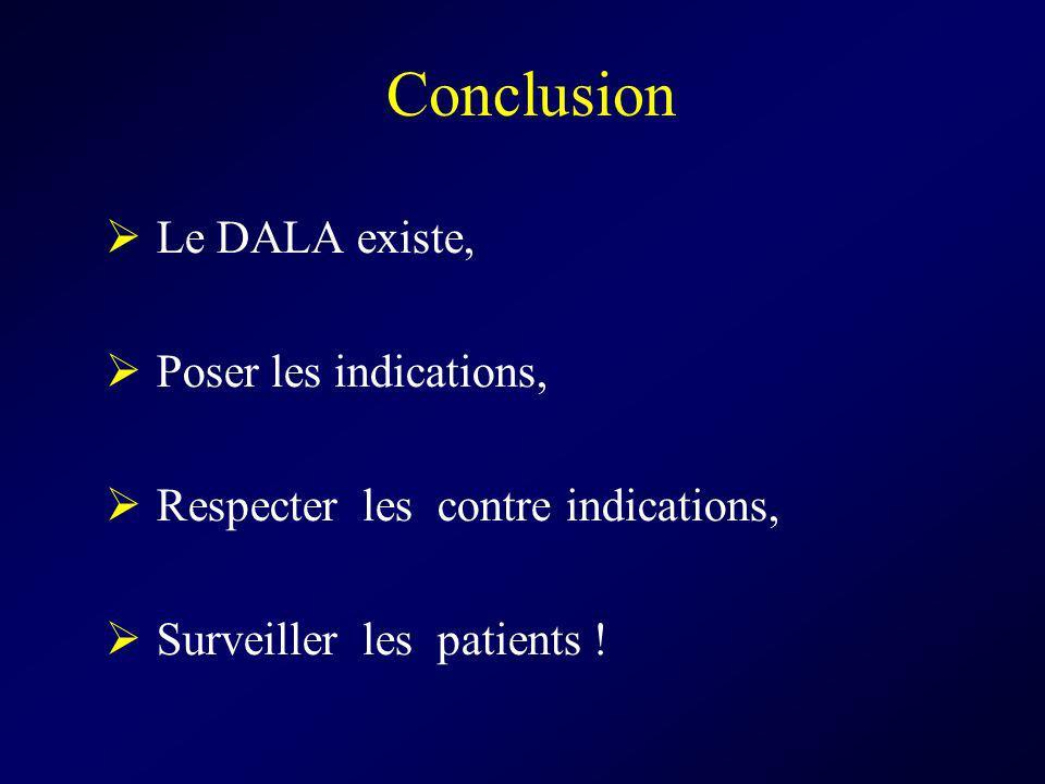 Conclusion Le DALA existe, Poser les indications, Respecter les contre indications, Surveiller les patients !