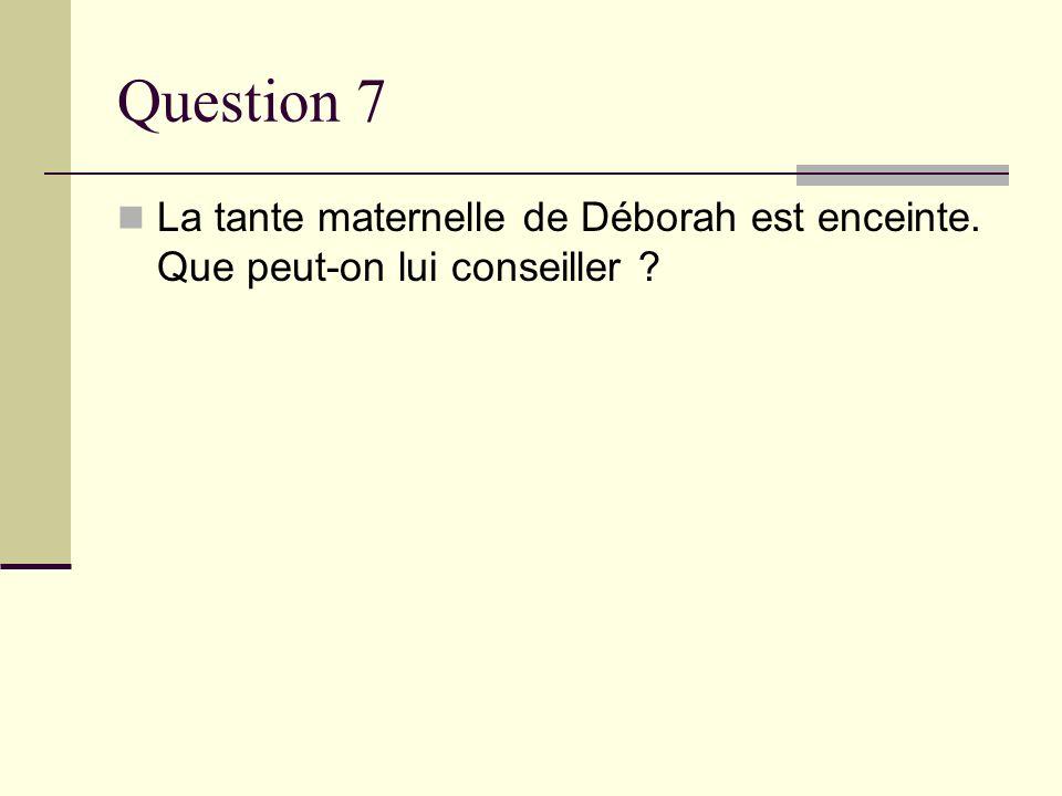 Question 7 La tante maternelle de Déborah est enceinte. Que peut-on lui conseiller ?