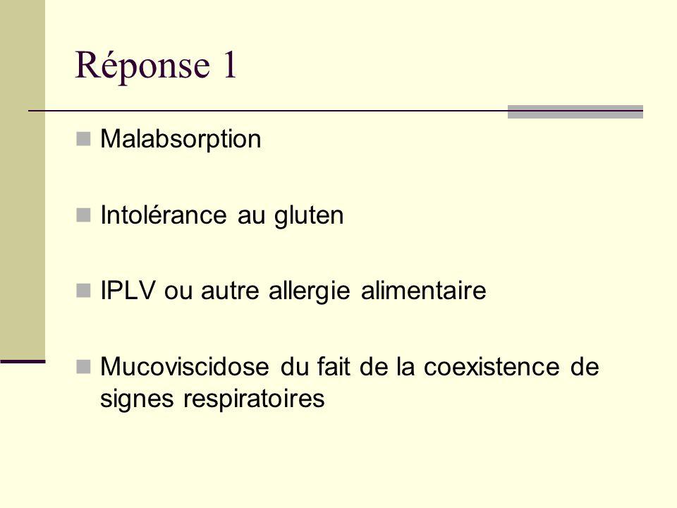 Réponse 1 Malabsorption Intolérance au gluten IPLV ou autre allergie alimentaire Mucoviscidose du fait de la coexistence de signes respiratoires