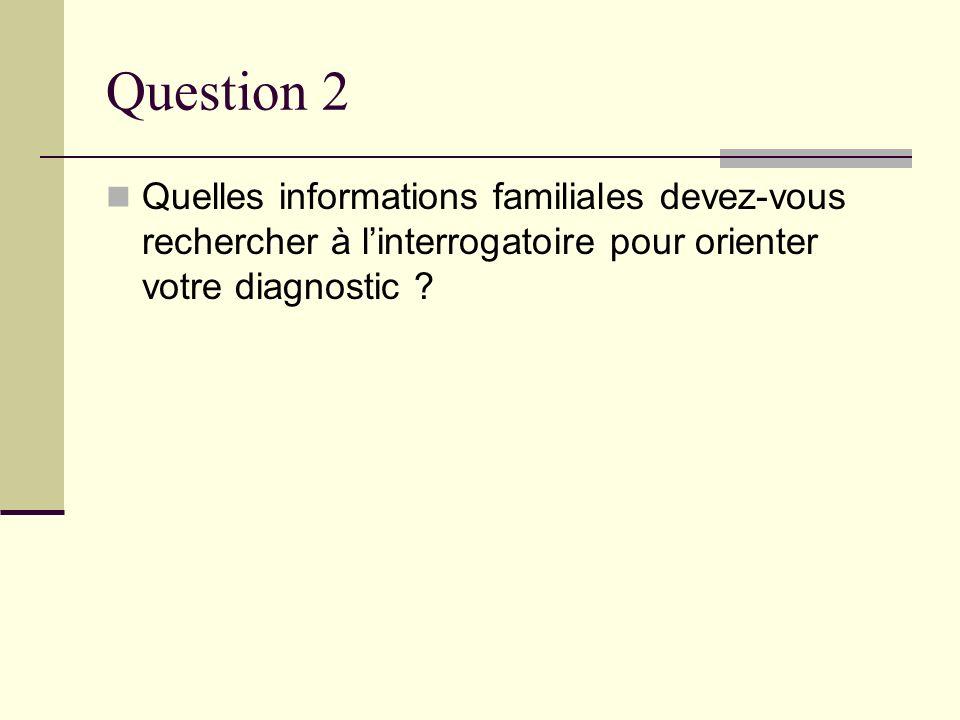 Question 2 Quelles informations familiales devez-vous rechercher à linterrogatoire pour orienter votre diagnostic ?