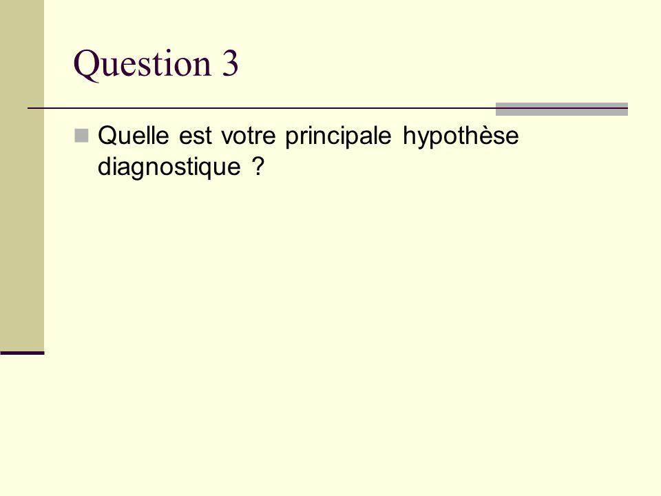 Question 3 Quelle est votre principale hypothèse diagnostique ?
