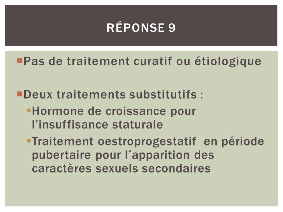 Pas de traitement curatif ou étiologique Deux traitements substitutifs : Hormone de croissance pour linsuffisance staturale Traitement oestroprogestat