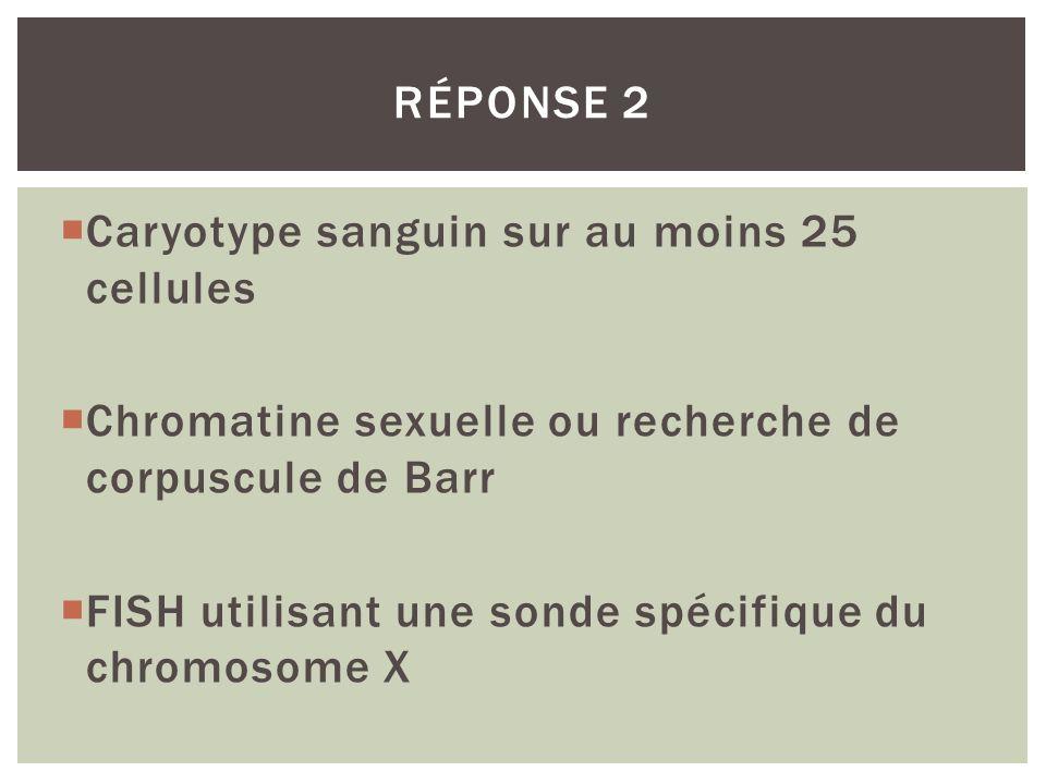 Caryotype sanguin sur au moins 25 cellules Chromatine sexuelle ou recherche de corpuscule de Barr FISH utilisant une sonde spécifique du chromosome X