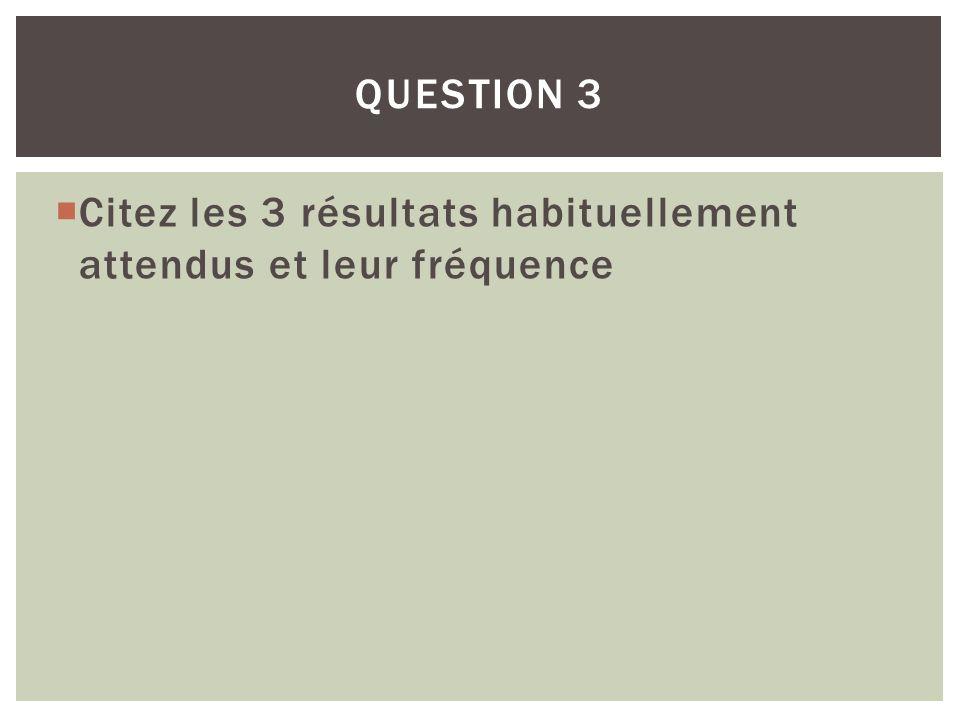Citez les 3 résultats habituellement attendus et leur fréquence QUESTION 3