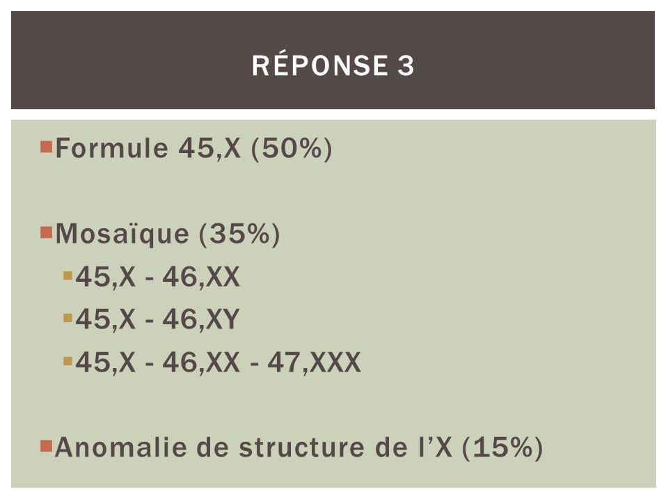 Formule 45,X (50%) Mosaïque (35%) 45,X - 46,XX 45,X - 46,XY 45,X - 46,XX - 47,XXX Anomalie de structure de lX (15%) RÉPONSE 3