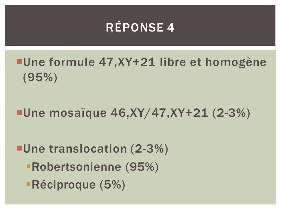 Une formule 47,XY+21 libre et homogène (95%) Une mosaïque 46,XY/47,XY+21 (2-3%) Une translocation (2-3%) Robertsonienne (95%) Réciproque (5%) RÉPONSE