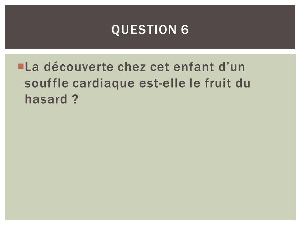 La découverte chez cet enfant dun souffle cardiaque est-elle le fruit du hasard ? QUESTION 6