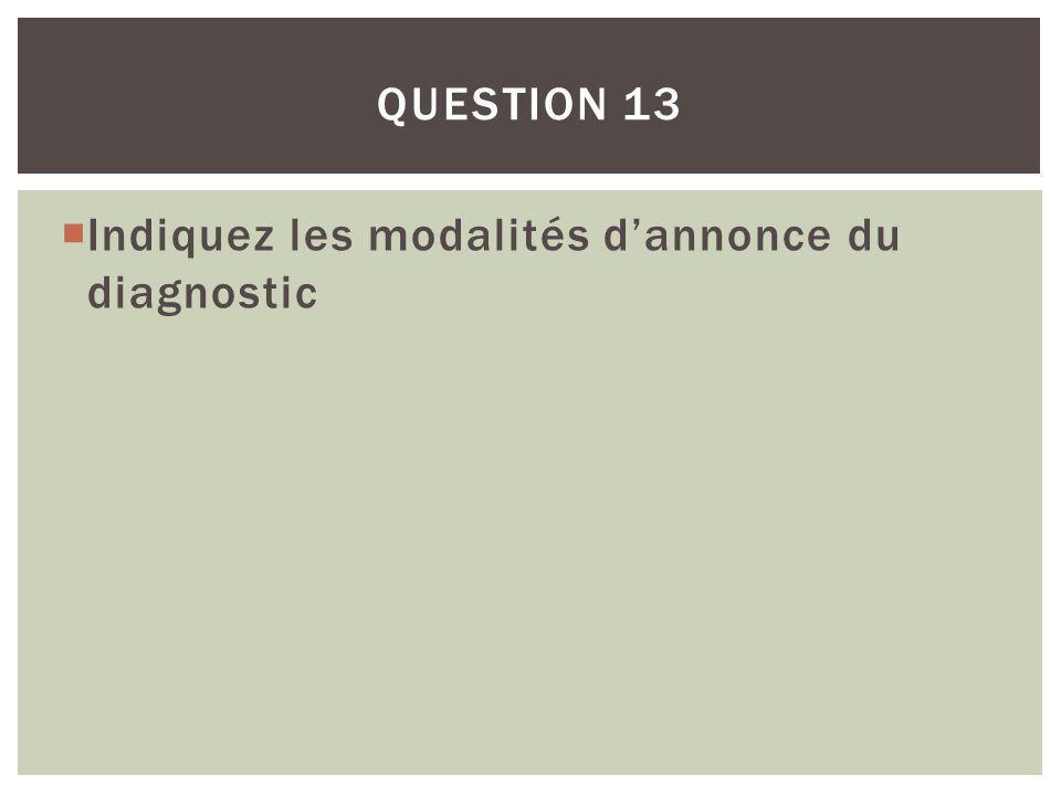 Indiquez les modalités dannonce du diagnostic QUESTION 13