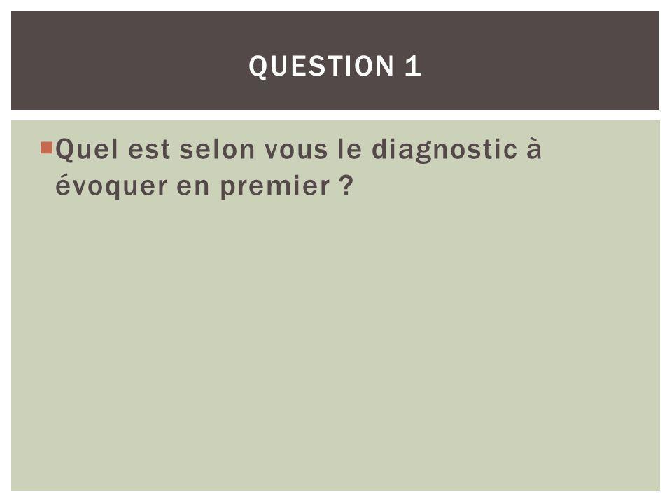 Quel est selon vous le diagnostic à évoquer en premier ? QUESTION 1