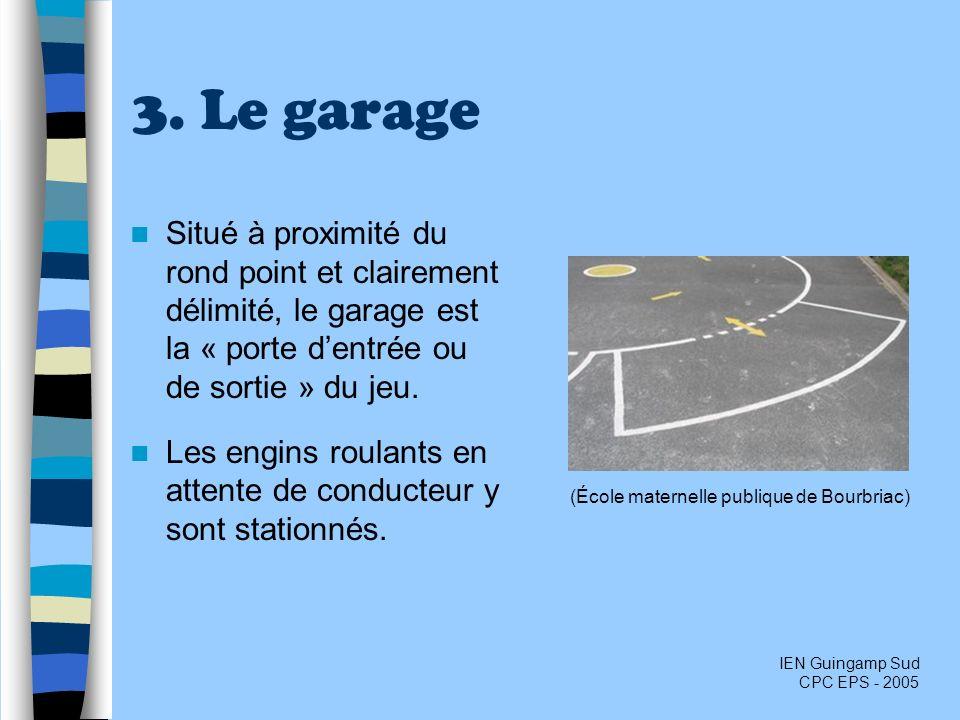 3. Le garage Situé à proximité du rond point et clairement délimité, le garage est la « porte dentrée ou de sortie » du jeu. Les engins roulants en at