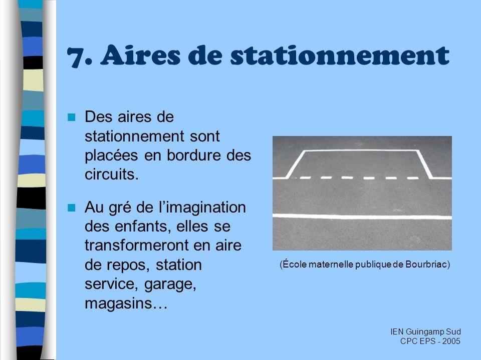 7. Aires de stationnement Des aires de stationnement sont placées en bordure des circuits. Au gré de limagination des enfants, elles se transformeront