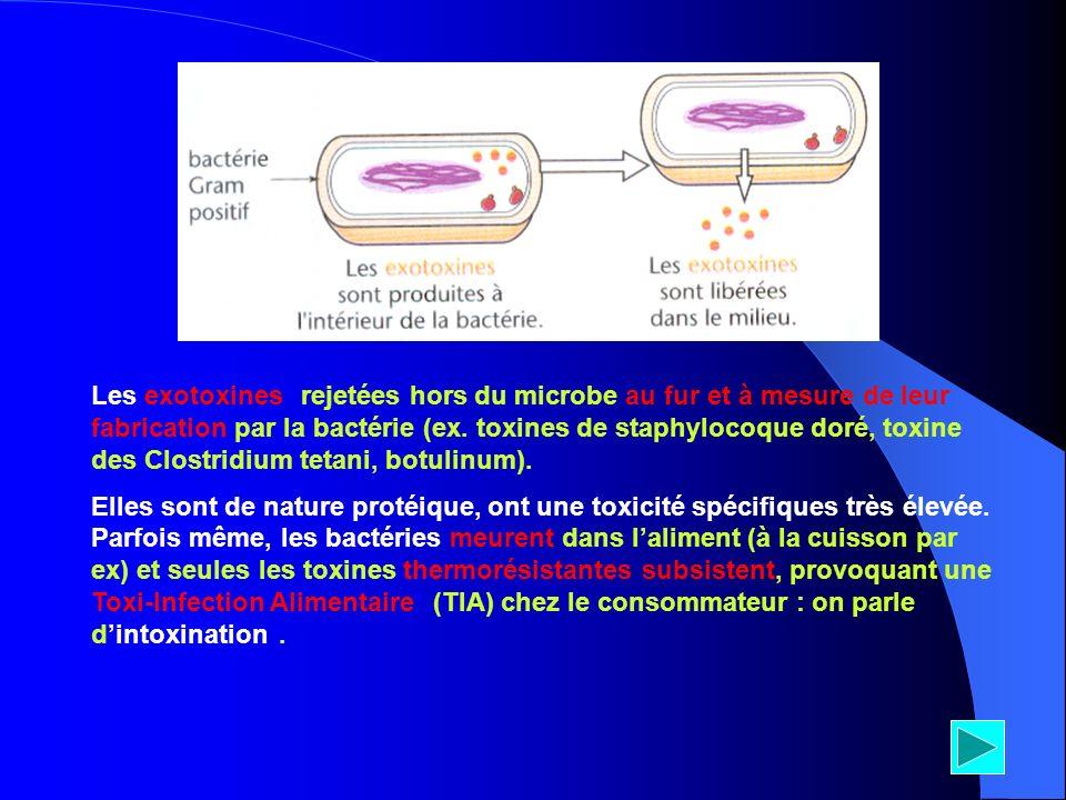 Les exotoxines* rejetées hors du microbe au fur et à mesure de leur fabrication par la bactérie (ex. toxines de staphylocoque doré, toxine des Clostri