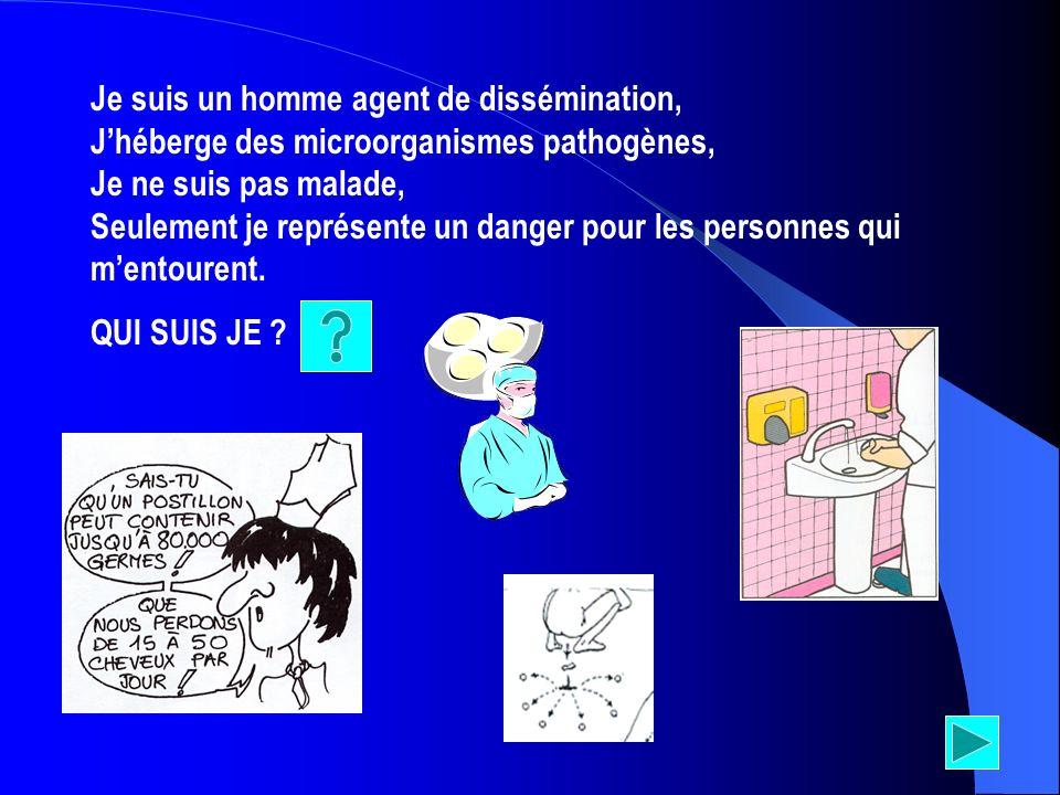 Je suis un homme agent de dissémination, Jhéberge des microorganismes pathogènes, Je ne suis pas malade, Seulement je représente un danger pour les pe