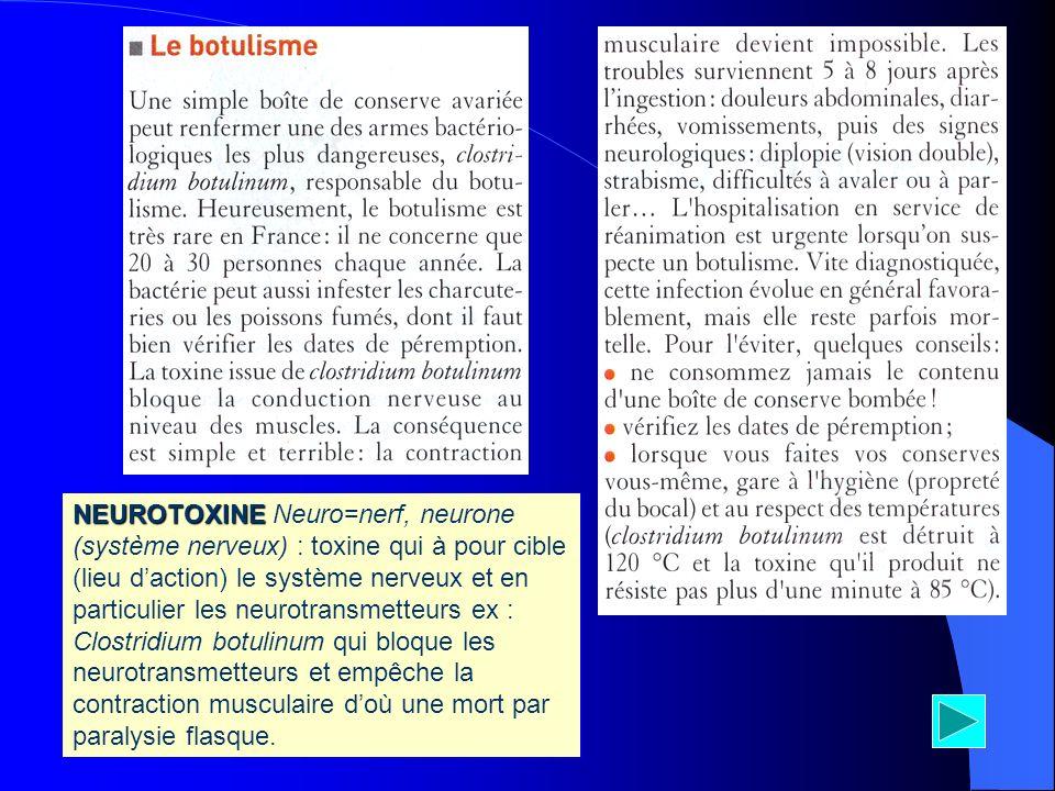 NEUROTOXINE NEUROTOXINE Neuro=nerf, neurone (système nerveux) : toxine qui à pour cible (lieu daction) le système nerveux et en particulier les neurot