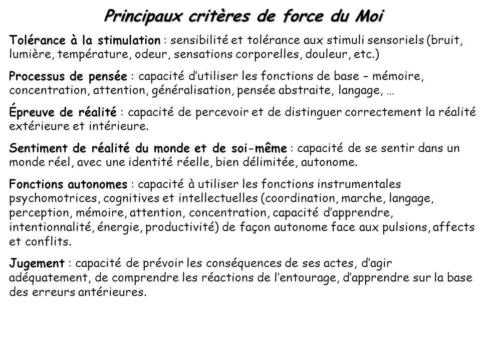 Principaux critères de force du Moi Tolérance à la stimulation : sensibilité et tolérance aux stimuli sensoriels (bruit, lumière, température, odeur,