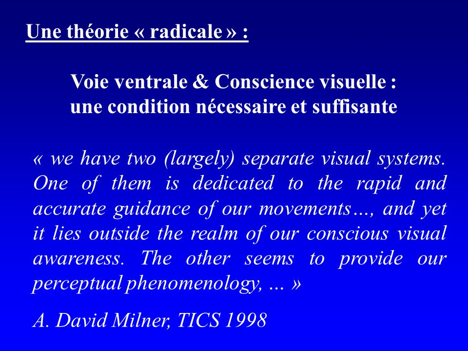 « we have two (largely) separate visual systems. One of them is dedicated to the rapid and accurate guidance of our movements…, and yet it lies outsid