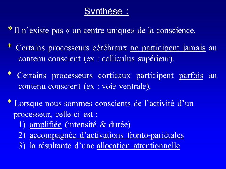 Synthèse : * Il nexiste pas « un centre unique» de la conscience.