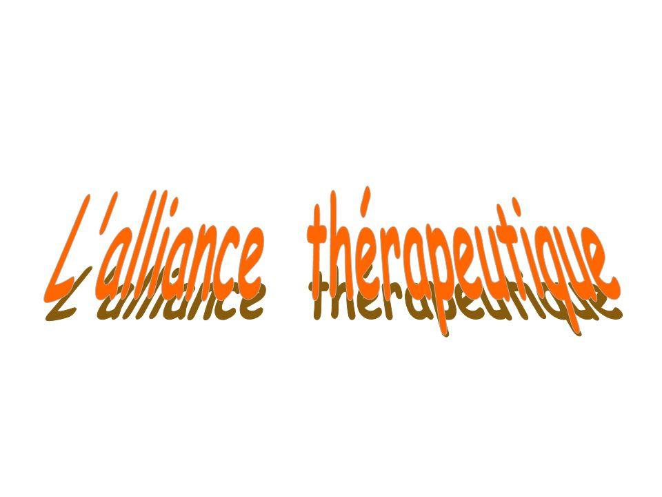 Le concept dalliance thérapeutique : origine et évolution Définition dalliance thérapeutique Importance de lalliance thérapeutique Composantes de lalliance thérapeutique Différence entre alliance thérapeutique et transfert Les bases de lalliance thérapeutique