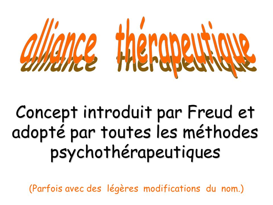 Concept introduit par Freud et adopté par toutes les méthodes psychothérapeutiques (Parfois avec des légères modifications du nom.)