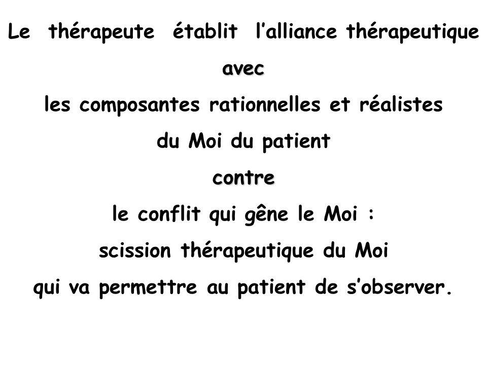 Le thérapeute établit lalliance thérapeutiqueavec les composantes rationnelles et réalistes du Moi du patientcontre le conflit qui gêne le Moi : sciss