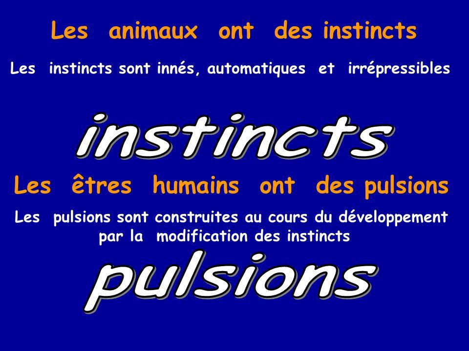 Les animaux ont des instincts Les êtres humains ont des pulsions Les instincts sont innés, automatiques et irrépressibles Les pulsions sont construite