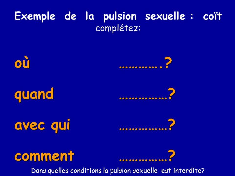 oùquand avec qui comment Exemple de la pulsion sexuelle : coït complétez: ………….?……………?……………?……………? Dans quelles conditions la pulsion sexuelle est int