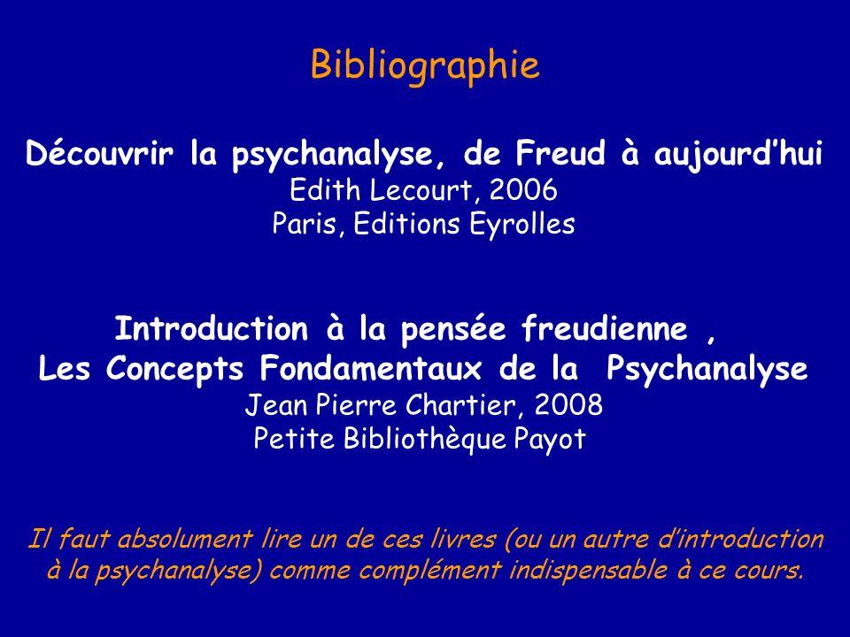 Bibliographie Découvrir la psychanalyse, de Freud à aujourdhui Edith Lecourt, 2006 Paris, Editions Eyrolles Introduction à la pensée freudienne, Les C