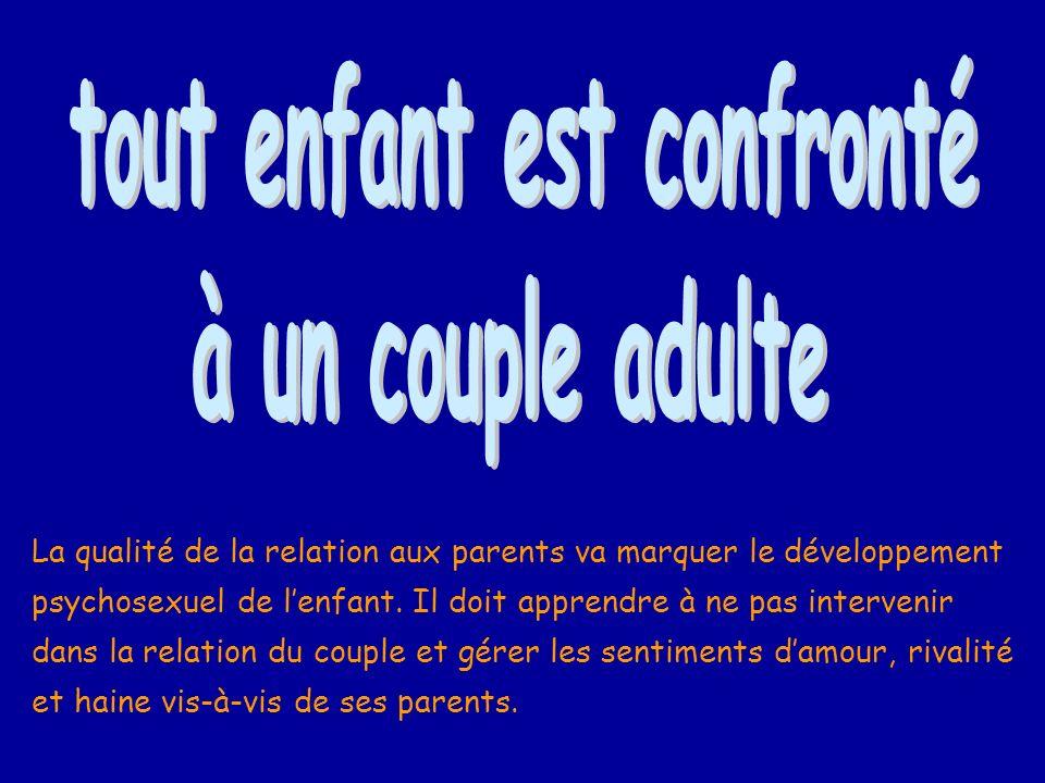 La qualité de la relation aux parents va marquer le développement psychosexuel de lenfant. Il doit apprendre à ne pas intervenir dans la relation du c