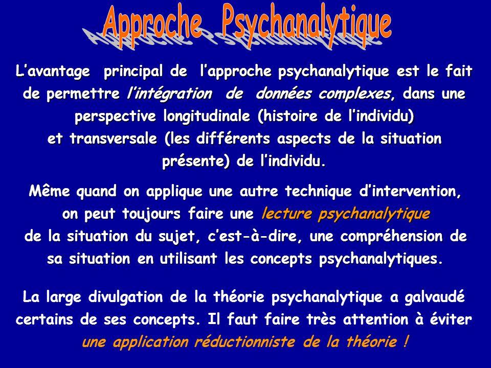 Lavantage principal de lapproche psychanalytique est le fait de permettre lintégration de données complexes, dans une perspective longitudinale (histo