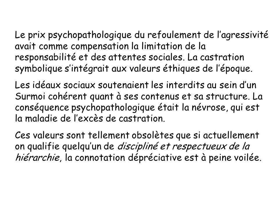 Le prix psychopathologique du refoulement de lagressivité avait comme compensation la limitation de la responsabilité et des attentes sociales. La cas