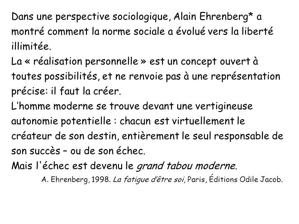 Dans une perspective sociologique, Alain Ehrenberg* a montré comment la norme sociale a évolué vers la liberté illimitée. La « réalisation personnelle