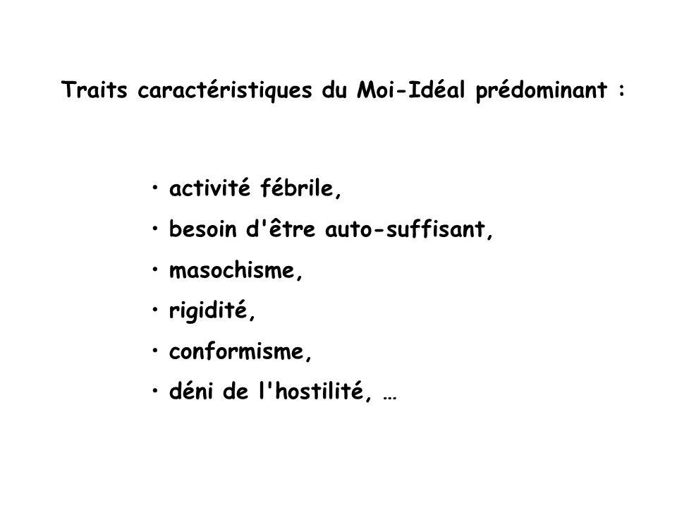 activité fébrile, besoin d'être auto-suffisant, masochisme, rigidité, conformisme, déni de l'hostilité, … Traits caractéristiques du Moi-Idéal prédomi