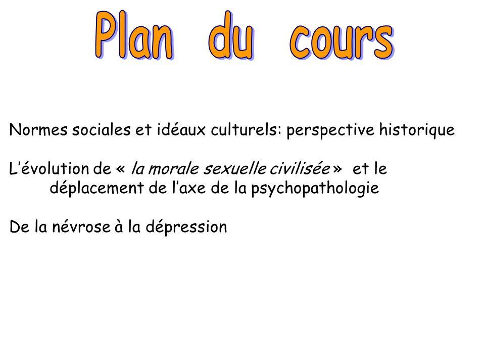 Normes sociales et idéaux culturels: perspective historique Lévolution de « la morale sexuelle civilisée » et le déplacement de laxe de la psychopatho