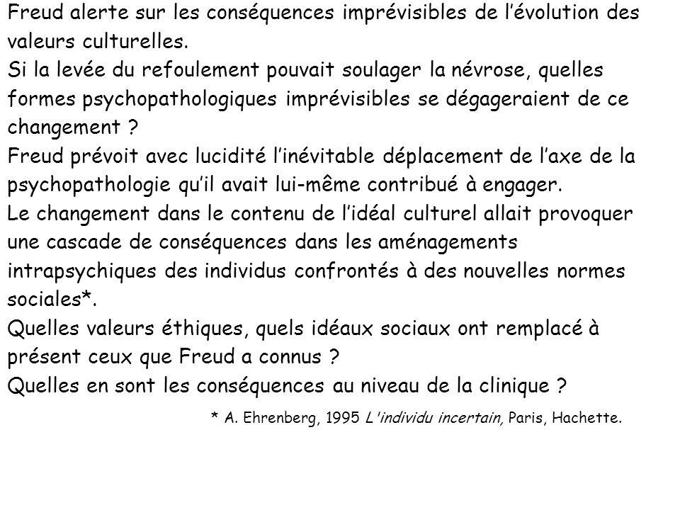 Freud alerte sur les conséquences imprévisibles de lévolution des valeurs culturelles. Si la levée du refoulement pouvait soulager la névrose, quelles