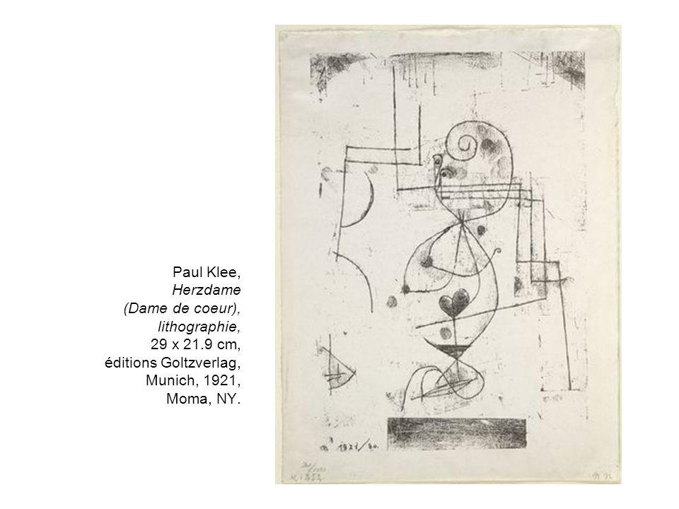 Paul Klee, Herzdame (Dame de coeur), lithographie, 29 x 21.9 cm, éditions Goltzverlag, Munich, 1921, Moma, NY.