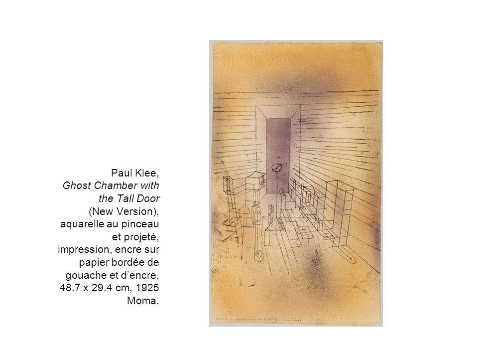 Paul Klee, Ghost Chamber with the Tall Door (New Version), aquarelle au pinceau et projeté, impression, encre sur papier bordée de gouache et dencre,