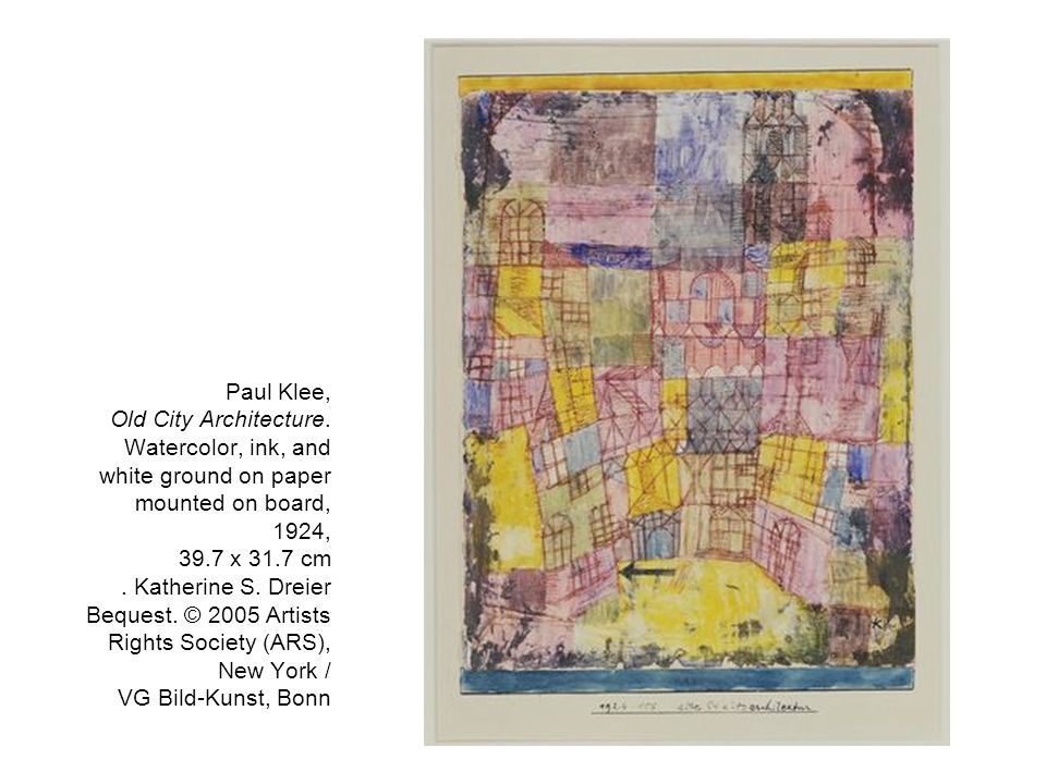 Paul Klee, Old City Architecture. Watercolor, ink, and white ground on paper mounted on board, 1924, 39.7 x 31.7 cm. Katherine S. Dreier Bequest. © 20