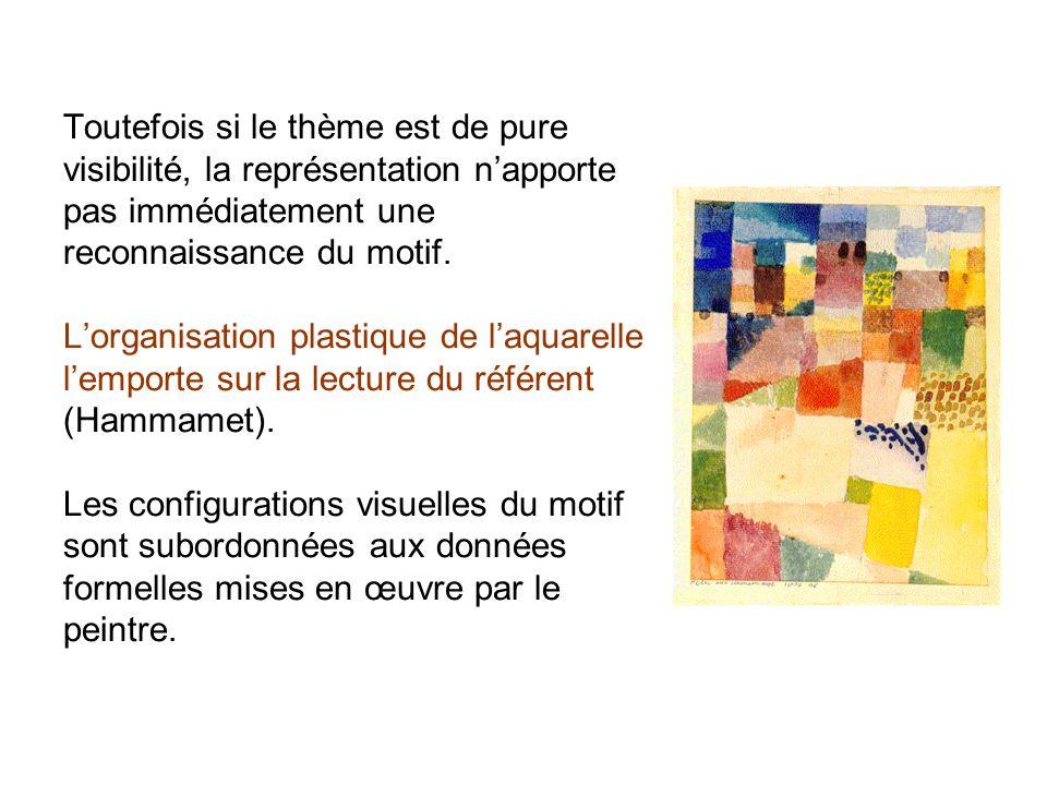 Toutefois si le thème est de pure visibilité, la représentation napporte pas immédiatement une reconnaissance du motif. Lorganisation plastique de laq