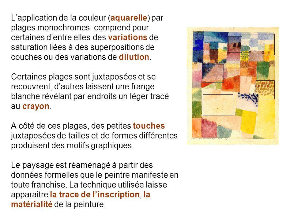 Lapplication de la couleur (aquarelle) par plages monochromes comprend pour certaines dentre elles des variations de saturation liées à des superposit