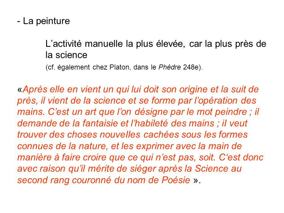 - La peinture Lactivité manuelle la plus élevée, car la plus près de la science (cf. également chez Platon, dans le Phèdre 248e). «Après elle en vient