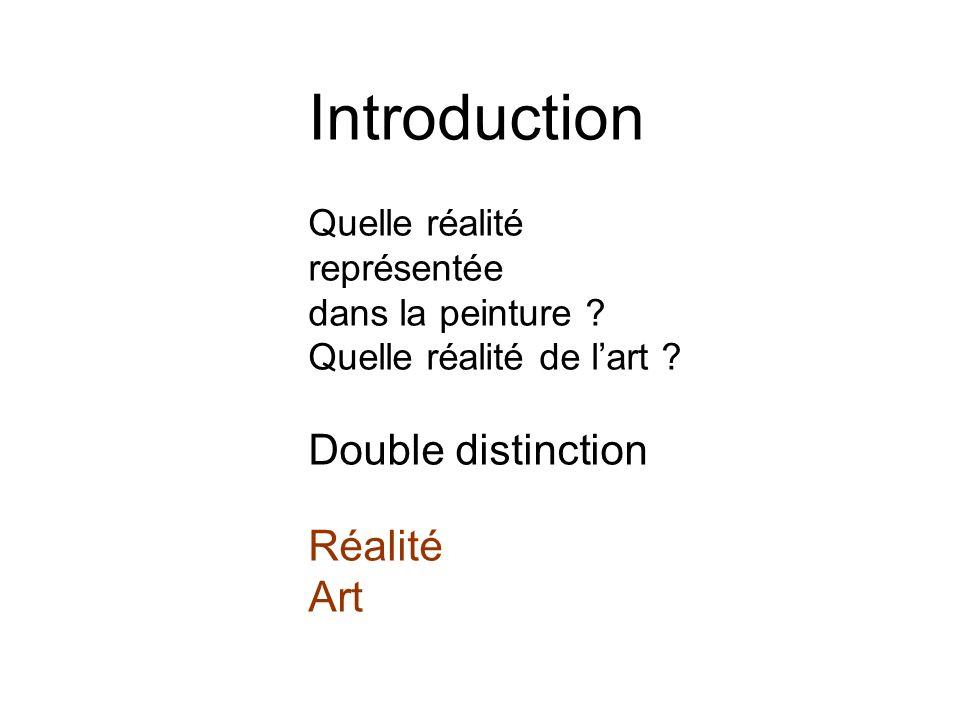 Introduction Quelle réalité représentée dans la peinture ? Quelle réalité de lart ? Double distinction Réalité Art