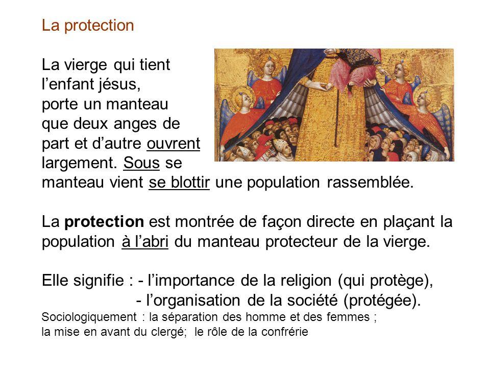 La protection La vierge qui tient lenfant jésus, porte un manteau que deux anges de part et dautre ouvrent largement. Sous se manteau vient se blottir