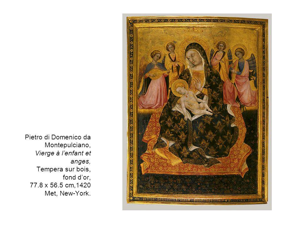 Pietro di Domenico da Montepulciano, Vierge à lenfant et anges, Tempera sur bois, fond dor, 77.8 x 56.5 cm,1420 Met, New-York.